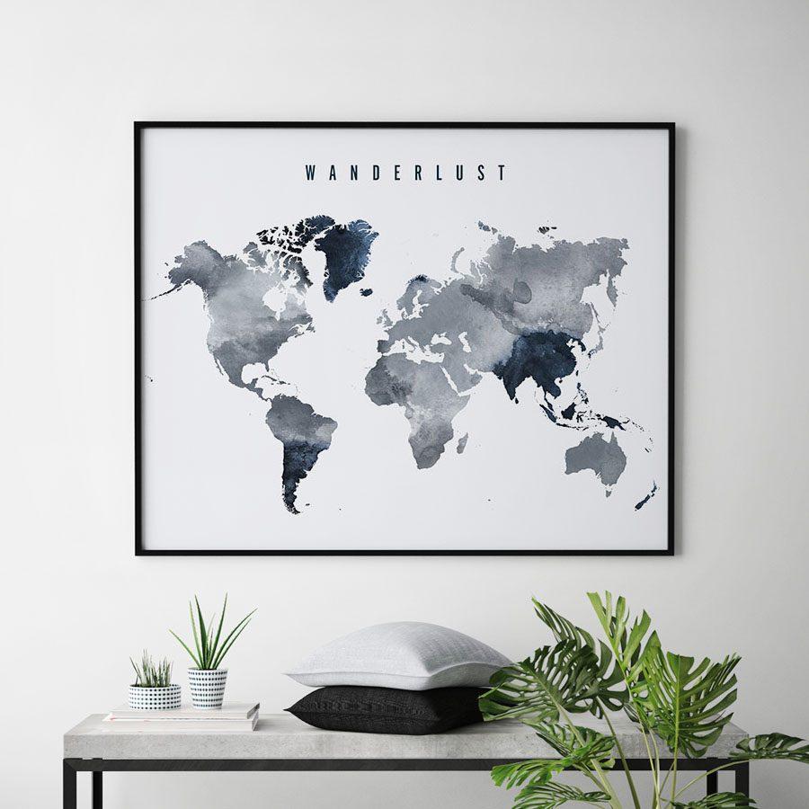 Wanderlust world map poster grey blue second