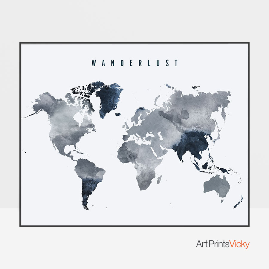 Wanderlust World Map Grey Blue Poster | Art Prints Vicky
