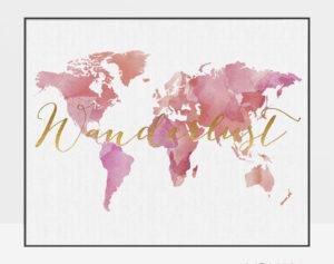 World map wanderlust poster