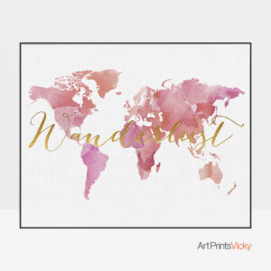 World map wanderlust poster