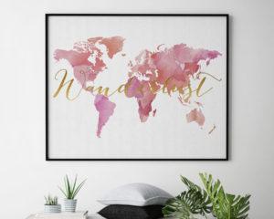 World map wanderlust poster second