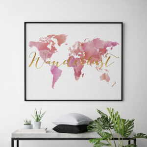 World map wanderlust poster second