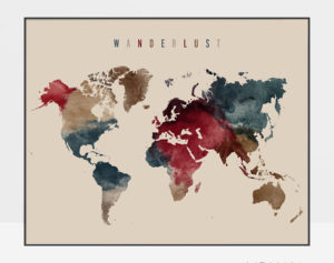 World map poster wanderlust earth tones 2