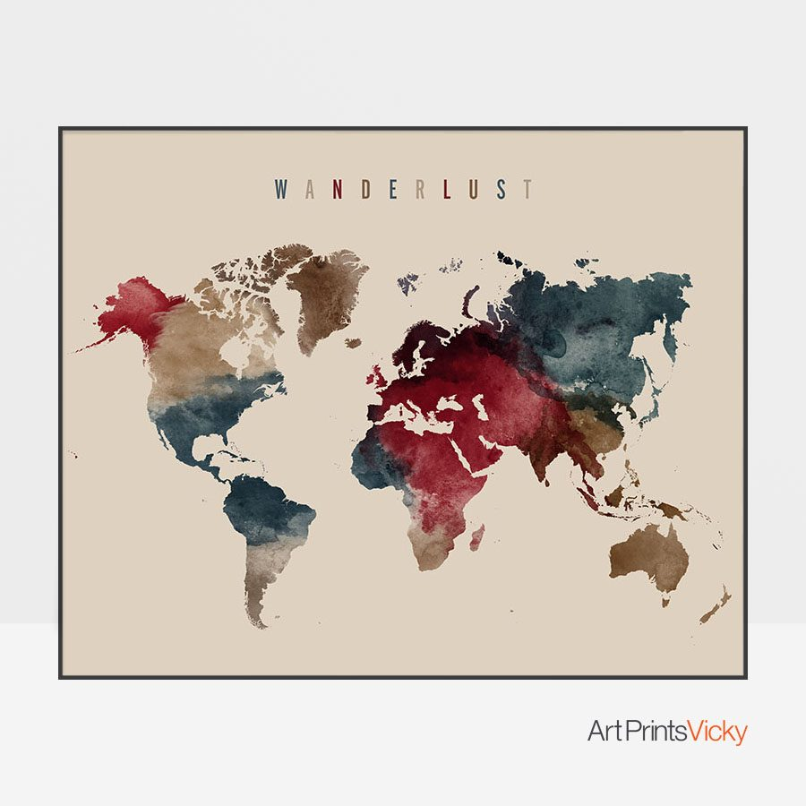 World Map Wanderlust Earth Tones 2 Poster