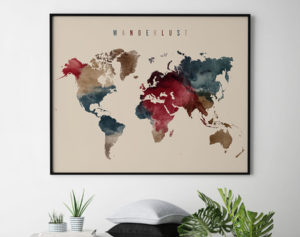 World map poster wanderlust earth tones 2 second