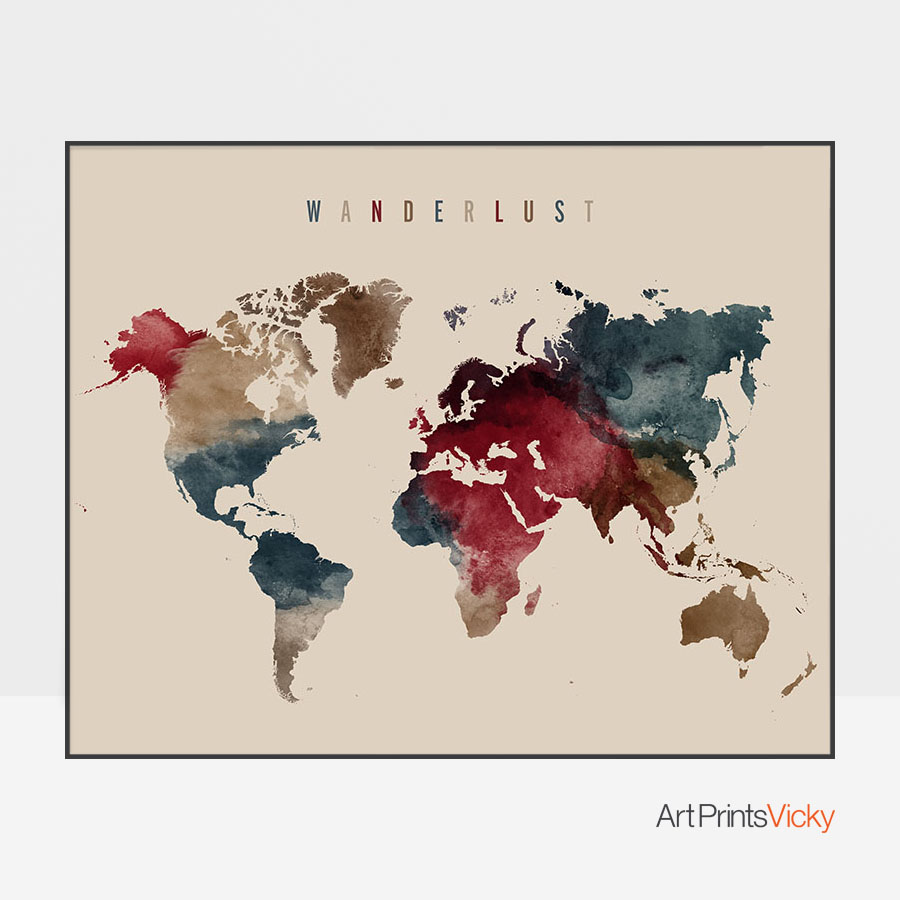 World map poster wanderlust earth tones 2 artprintsvicky gumiabroncs Image collections