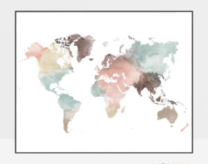 World map wall art poster pastel white