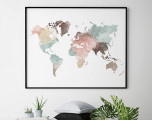 World map wall art poster pastel white second