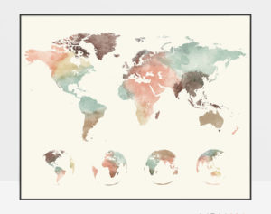 World map poster pastel cream 4 globe phases