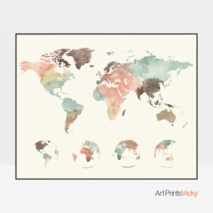World Map Pastel 4 Globe Phases Poster