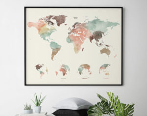 World map poster pastel cream 4 globe phases second
