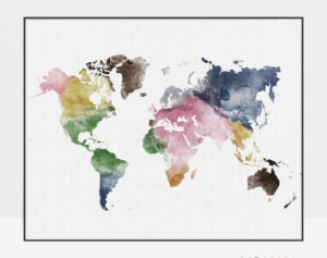 World map poster colorful watercolor