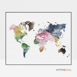 World Map Colorful Watercolor Poster