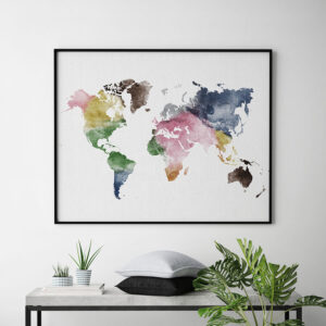 World map poster colorful watercolor second