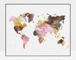 World map wall art watercolor yellow pink brown
