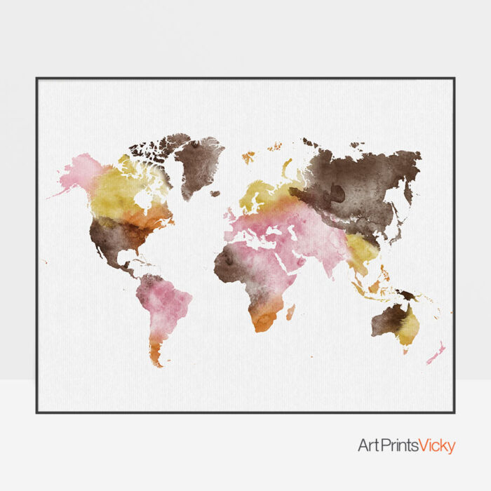 World Map Watercolor Yellow Pink Brown