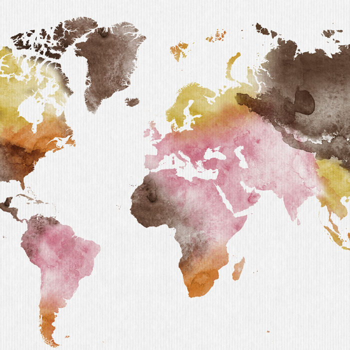 World map wall art watercolor yellow pink brown detail