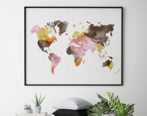 World map wall art watercolor yellow pink brown second