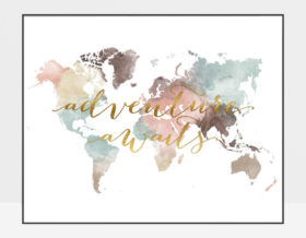 World map poster adventure awaits pastel white