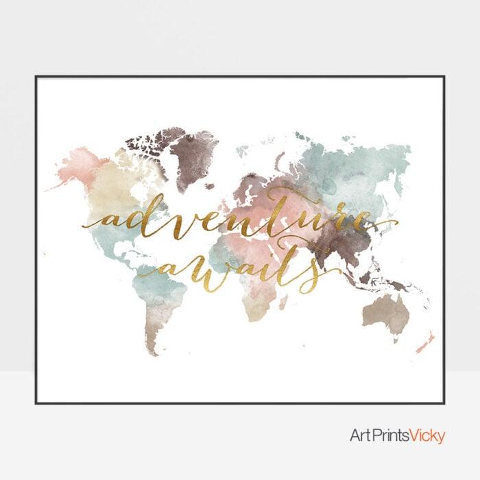 World map adventure awaits pastel poster