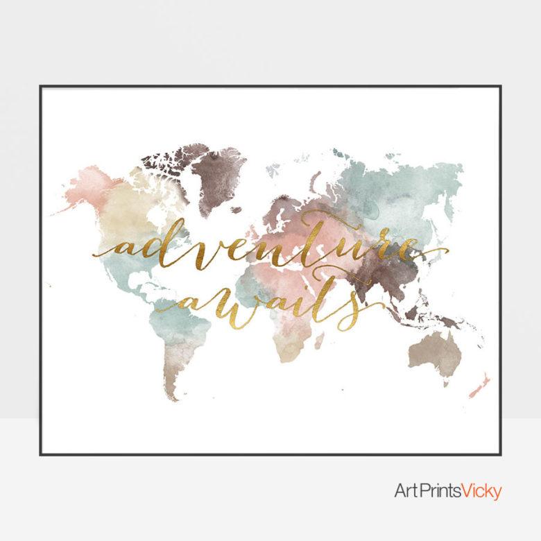 World map poster adventure awaits pastel white