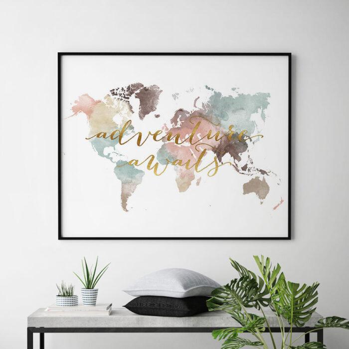 world map white pastel adventure awaits second