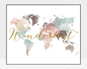 World map poster wanderlust pastel white