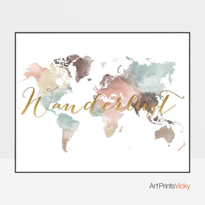 World Map Wanderlust Pastel White Poster
