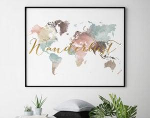 World map poster wanderlust pastel white second