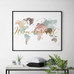 World map poster wanderlust pastel white second