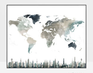 World map poster skylines earth tones 4