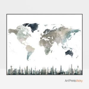 World Map Skylines Earth Tones 4 Poster