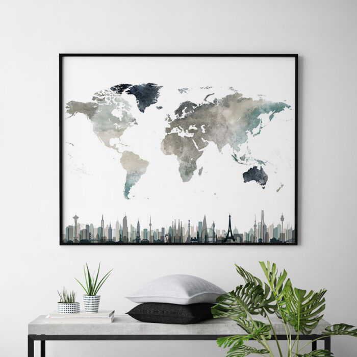 World map poster skylines earth tones 4 second