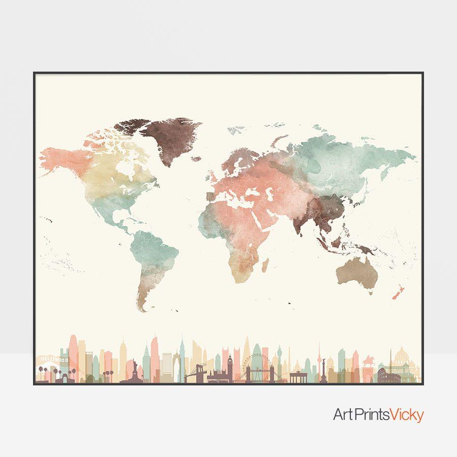 World map wall art skylines pastel cream