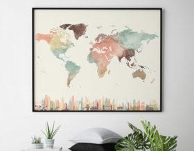 World map wall art skylines pastel cream second