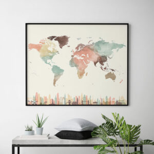 World map wall art skylines pastel cream second