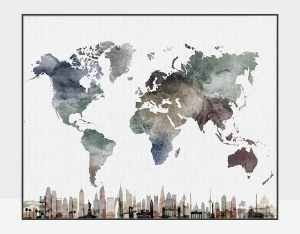 World map poster skylines watercolor