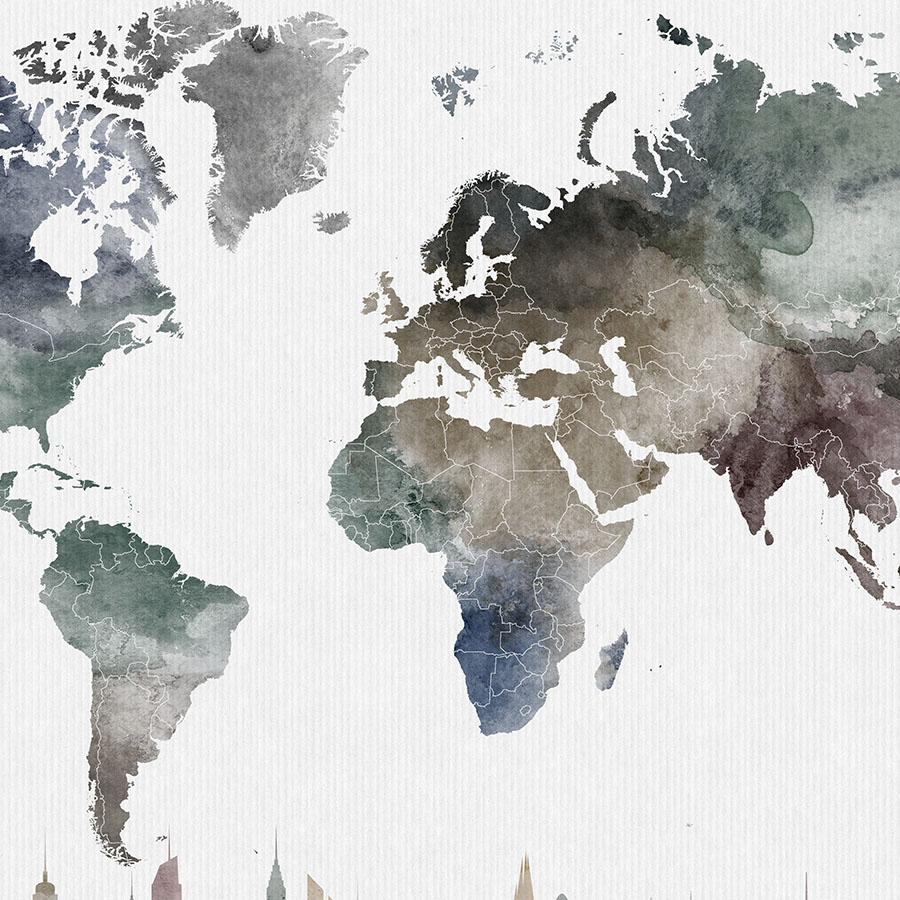 World map poster skylines watercolor detail photo