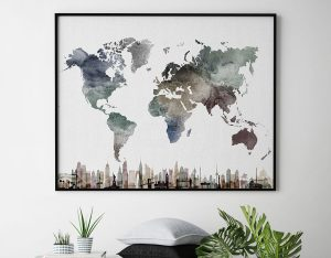 World map poster skylines watercolor second