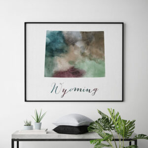 Wyoming State map print second photo