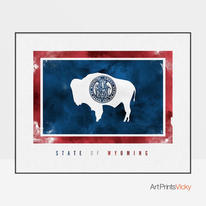 Wyoming State flag art print