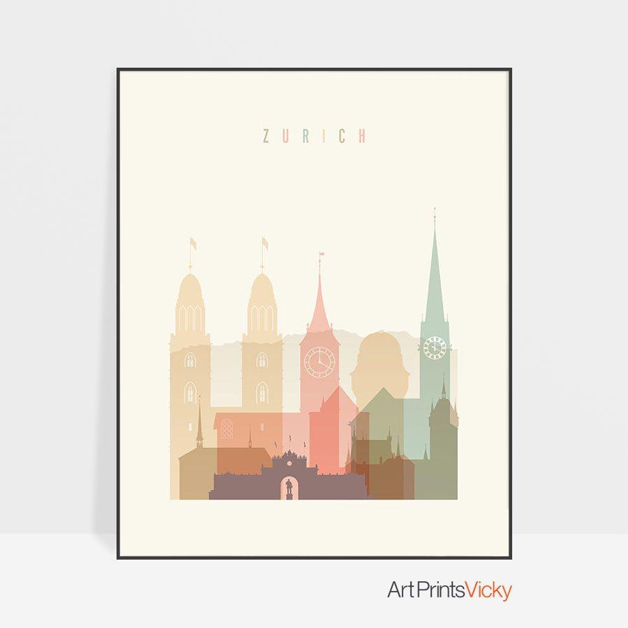 Zurich art print skyline pastel cream