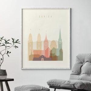 Zurich art print skyline pastel cream second
