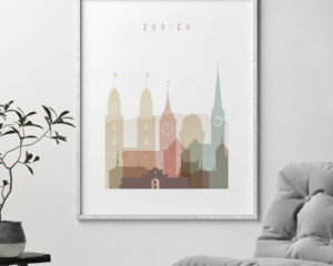 Zurich wall art print pastel white second