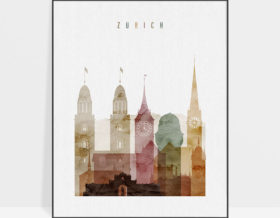 Zurich poster watercolor 1