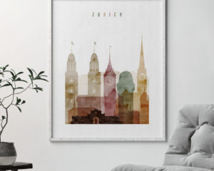Zurich poster watercolor 1 second